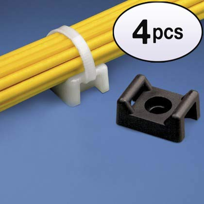 GOWOS (4 Pack) Cable Tie Mount 22mm White 100pk ()