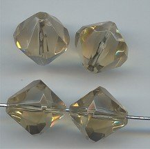 (Light Topaz Acrylic 15mm. BICONE Faceted Beads - Lot of 12 )