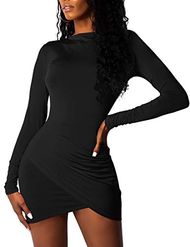 BORIFLORS-Womens-Sexy-Wrap-Front-Long-Sleeve-Ruched-Bodycon-Mini-Club-Dress