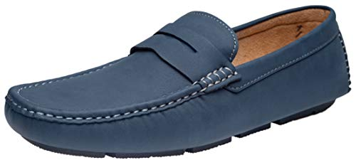 JOUSEN Men's Loafer Lightweight Slip On Driving Shoes Soft Penny Loafers (12,Navy) ()
