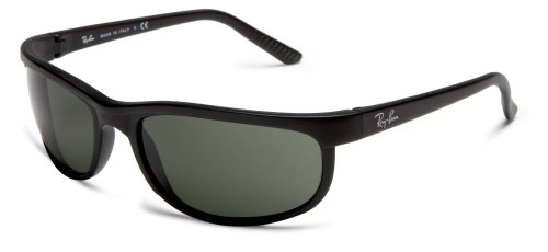 Ray-Ban Men's RB2027 Predator 2 Rectangular Sunglasses, Black & Matte Black/Green, 62 mm