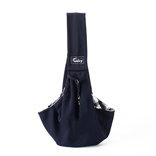 Cuby Dog Cat Pet Sling Carrier Bag, Outdoor Slings Carriers Reversible Shoulder Bag (Navy blue)