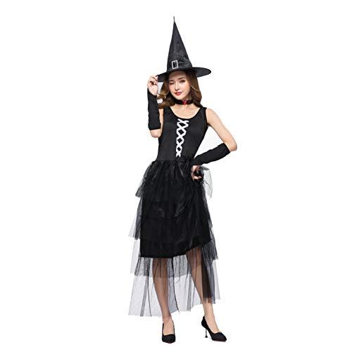 YRE Negro Sin Mangas Vestido De Fiesta De Disfraces, Halloween Ghost Day Traje De Brujas, Masquerade Girl Bruja,L