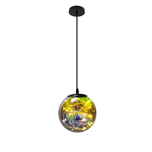 Minimalism Colourful Glass LED Hanging Lamp in Globe Shape, Post-Modern Creative Personality Adjustable 1-Light Pendant Light Fixture, 5.9