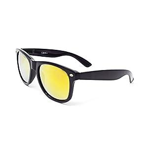 Black Frame Glasses with Gold Coloured Lenses UV400 Sunglasses Unisex UVA UVB Lightweight Classic Style Shades Glasses (Black with Gold Lenses)