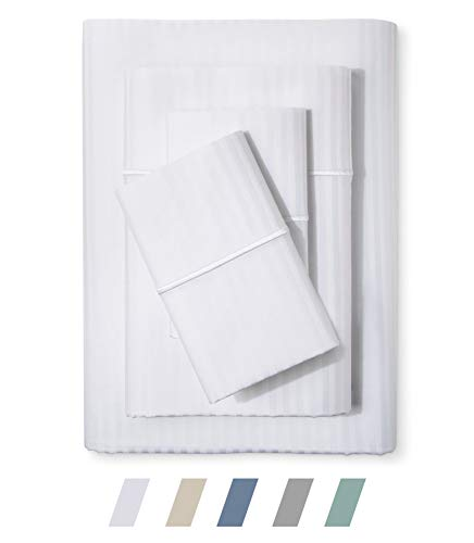 Feather & Stitch 500 Thread Count 100% Cotton Sheet Set, Stripe Sheets, Soft Sateen Weave,Full Sheets, Deep Pockets,Hotel Collection,Luxury Bedding Super Sale 100% Cotton (White Full)