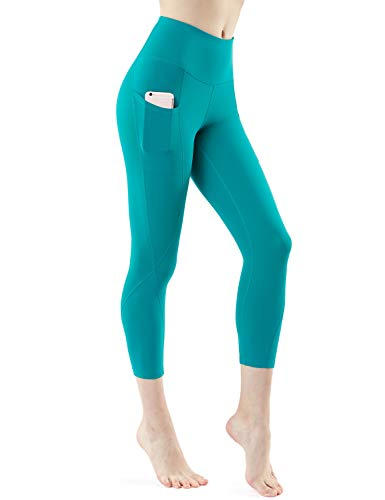 TSLA Yoga Pants 21 inches Capri High-Waist Tummy Control w Pocket, Pocket Aerisoft(fyc64) - Blue Green, Large (Size 10-12_Hip41-43 -