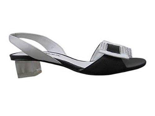 DAVID BRAUN Sandalette Schwarz/weiß - Sandalias de vestir de cuero para mujer negro - Negro y blanco