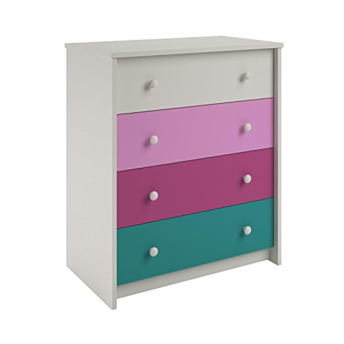 Ameriwood Home Kaleidoscope 4 Drawer Dresser, Whimsy/White Stipple