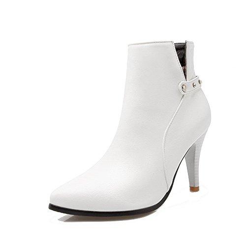 Women's Pu Low Top Solid Zipper High Heels Boots with Glass Diamond