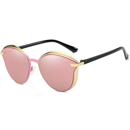 - BAVIRON Womens Cat Eye Sunglasses Polarized Luxury Fashion Eyewear(Gold/Pink)