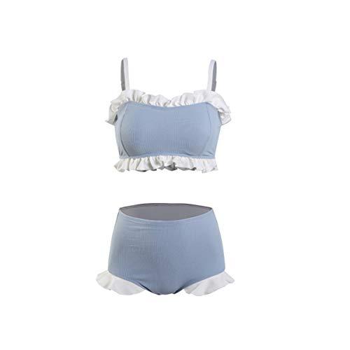 KDJHP - Bikini Bikini-Fashion Women's Swimwear Sexy high Waist Small Chest Gathered Bikini Topless Triangle Split Bikini - 8097 (Color : Blue, Size : XL)