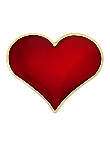 PinMart Red Heart Gold Plated Valentine's Day Enamel Lapel Pin 3/4