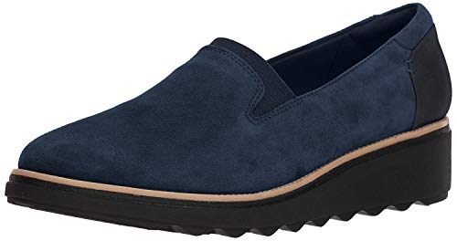 Clarks Women's Sharon Dolly Loafer, Navy Suede, 8 M US