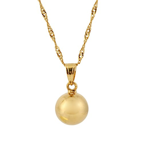 Gold 12mm Ball Pendant Necklace 24k Gold Fine Sphere Jewelry Outdoor Sporty Women Girls (Gold Ball Pendant)