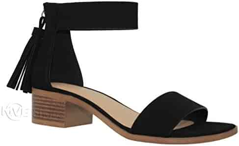 cd46f097a8424 MVE Shoes Women's Double Strapp Low Wedge Heel - Open Toe Casual Heeled  Sandal