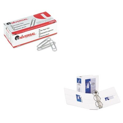 KITAVE09901UNV72220 - Value Kit - Avery Durable View Binder with Two Booster EZD Rings (AVE09901) and Universal Smooth Paper Clips (UNV72220)