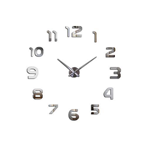 yuan kun Large Wall Clock Horloge 3D DIY Acrylic Mirror Stickers Home Decoration Living Room Quartz Wall Watch