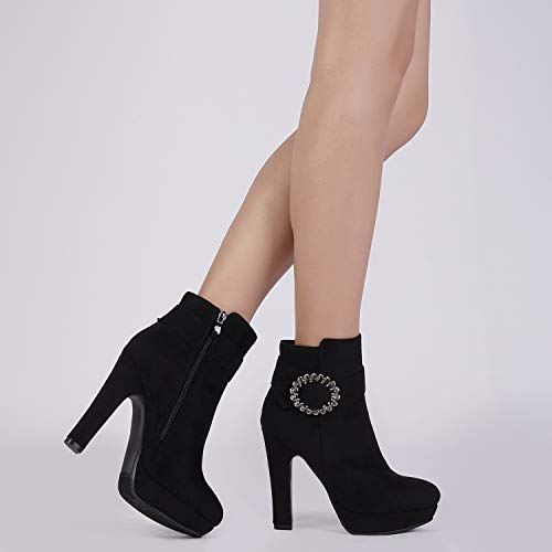 Womens Zip-Up Ankle Boots High Heel Synthetic Leather Pointed Shoes Size US 2~16