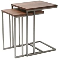 Moes Home Collection Nesting Tabella Tables, Walnut Veneer, Set of 2