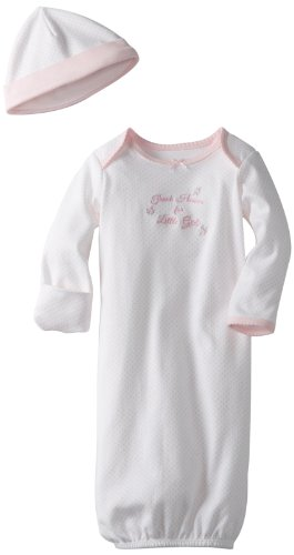 Little Me Girls' 2-Piece Gown & Hat Set, Thank Heaven, 0-3 Months (Heaven Thank Girl)