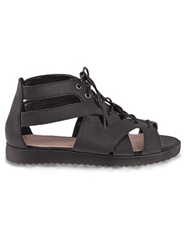 Ladies Womens Gladiator Chunky Cleated Sole Platform Summer Sandals Shoes Size BLACK FAUX LEATHER / LACE UP