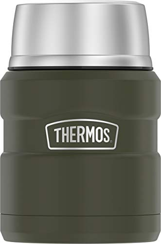 Thermos Stainless King 16 Ounce Food Jar with Folding Spoon, Army Green