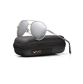 LUENX Men Women Aviator Sunglasses Polarized Mirrored Silver Lens Metal Frame UV 400 59MM