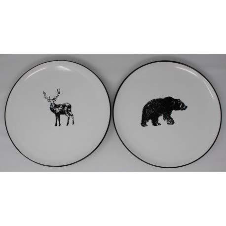 Set di 6/Piatti Piani in Gres 3/Orso e 3/cervo 26,5/cm