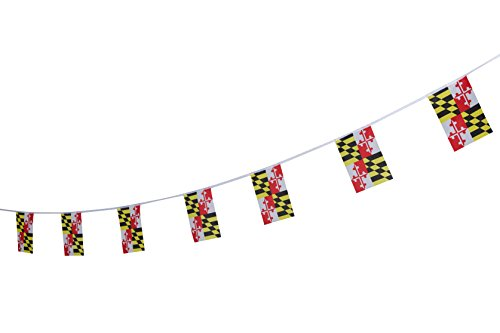 Kind Girl 100 Feet Maryland State Flag,Pennant Flags Banner String,Party Decorations for Grand Opening,Party Decorations,Indoor and Outdoor Flags,for School Event,Sport Events,Festival (Maryland) -