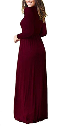 Casual Long with 01 Women Sleeve Maxi Wine LILBETTER Dresses Long Plain Loose Red Pockets Dresses pHxqnwZFA