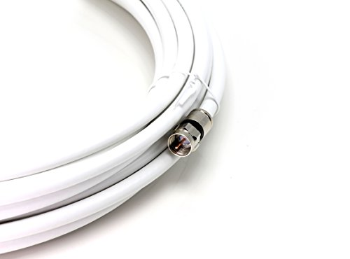 10' Feet, White RG6 Coaxial Cable (Coax Cable), Made in the USA, with Compression Connectors, F81 / RF, Digital Coax for Audio/Video, CableTV, Antenna, and Satellite, CL2 Rated, 10 Foot