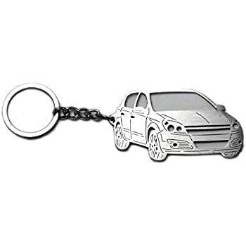 Stainless Steel Keychain suitable for Opel Astra H 5D 2004-2008 Vauxhall Laser Cut Key Chain with Ring Car Body Profile Design 3D Keychains
