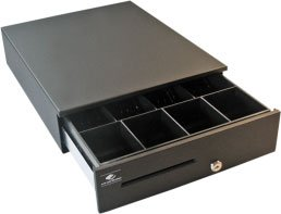 """APG JB484A-BL1317 Series 4000 Heavy Duty Cash Drawer, SerialPRO II Interface, Painted Front, Fixed 4X4 Till, 13"""" W x 17"""" D, Black"""