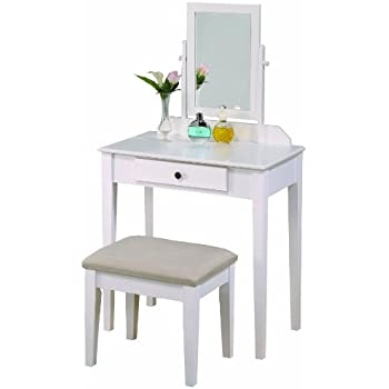 Exceptionnel Crown Mark Iris Vanity Table/Stool, White Finish With Beige Seat
