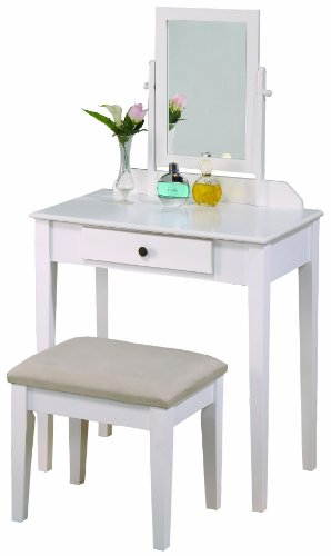 Crown Mark Iris Vanity Table/Stool, White Finish with Beige - Stand Vanity
