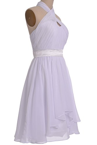 MACloth Women Halter Short Bridesmaid Dress Chiffon Cocktail Party Formal Gown Fuchsia