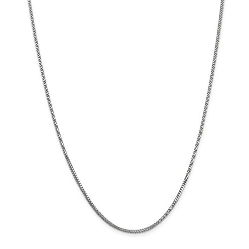 Solid 14k White Gold 1.3mm Franco Chain Necklace 16