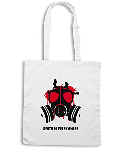 Shirt TM0475 EVERYWHERE IS Speed Bianca Borsa Shopper DEATH ABxdvq