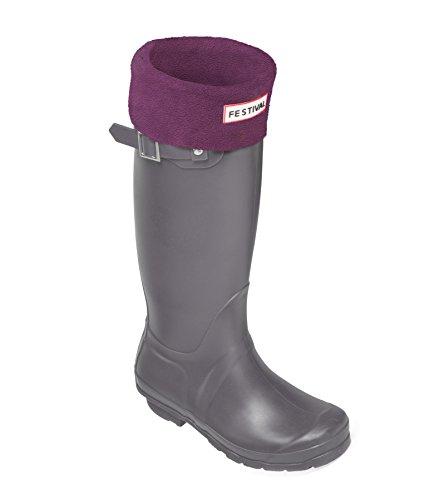 Festival Ladies Original Tall Warm Winter Rain Wellies Wellington Boots Sizes 3-9 UK Grey / Plum