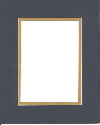 Pack of 5 11x14 Navy Blue & Gold Double Picture Mats Mattes Matting Cut for 8x10 (Blue Picture Mats Matting)
