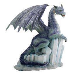 SUMMIT COLLECTION Winter Dragon on Ice Fantasy Figurine Decoration Decor Collectible (Sculpture Decorations Christmas Ice)