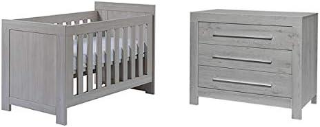 Cuna 60 x 120 y cómoda cambiador TWF Florida – gris: Amazon.es: Bebé