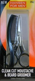 Hansen For Men ~ Clean Cut Moustache & Beard Groomer – Scissors,Comb