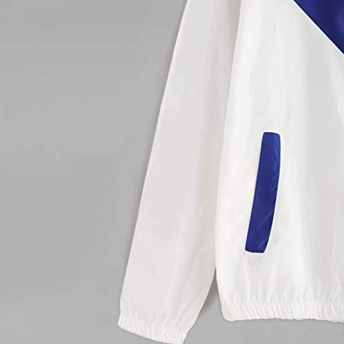 Giacca Cerniera Blau Eleganti Moda Incappucciato Sportivo Cappotto Donna Casuale Lunga Con Outdoor Autunno Giacche Primaverile Vento Manica Sciolto Windbreaker AYx8TUq