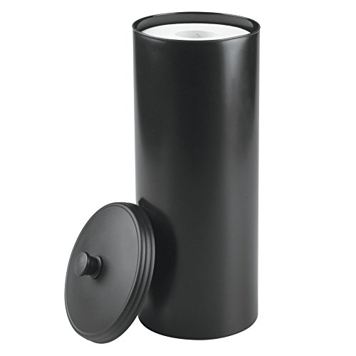 mDesign Free Standing Toilet Paper Roll Holder for Bathroom Storage - Black