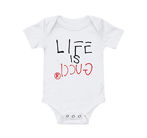 (Infant Bodysuits (WHT-6M) Printed with Life is Gucci Design)