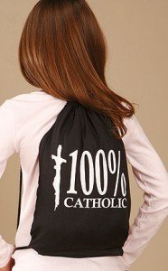 (Youth 100% Catholic w Christ on Cross Drawstring School Church Backpack Tote Bag)