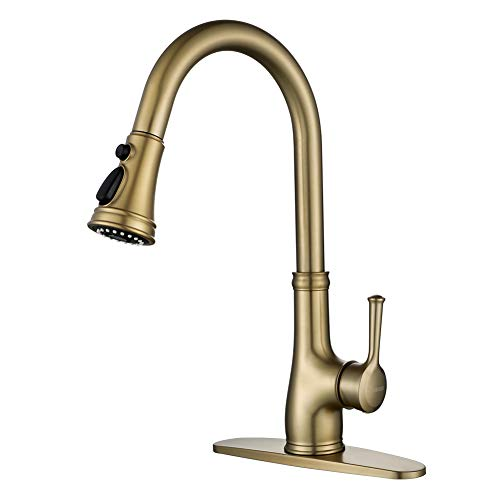 Gold Kitchen Sink Faucet with Pull Out Sprayer, Brushed Gold Copper Single Handle 1 Hole Pull Down Kitchen Faucet, Champagne Bronze,WEWE