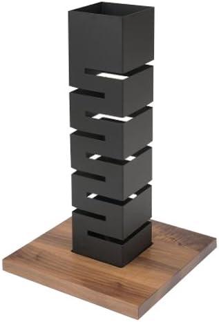 Rosseto SM160 Black Matte Steel with Walnut Base Tall Column Multi-Level Riser